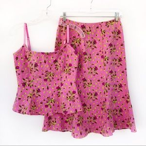 Betsey Johnson Pink Rose Print Tank Top Skirt Set